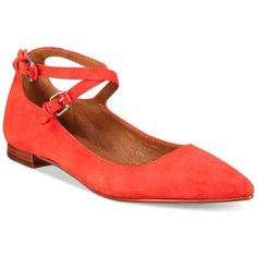 Frye Women's Sienna Cross Ballet Flats (£185) ❤ liked on Polyvore featuring shoes, flats, coral, skimmer shoes, frye flats, ballerina flat shoes, ballerina shoes and frye footwear