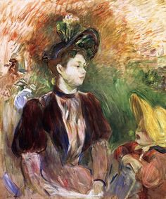 Young Woman and Child, Avenue du Bois: 1876 by Berthe Morisot (Private Collection) - Impressionism