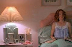 1980's Lighting Styles - An 80s Deco ceramic lamp reinforces the peach and mint green bedroom color scheme in this still from Todd Haynes' film Safe
