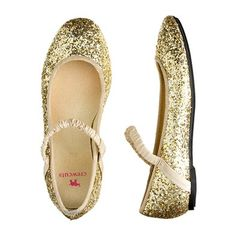 18418401b9581 Girls  glitter ballet flats. Gold Flower Girl ShoesFlower ...