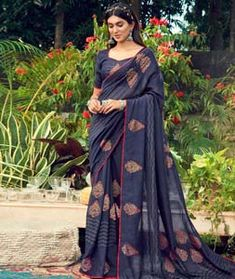 Chanderi Silk Saree Chanderi Silk Saree, Silk Sarees, Long Cut, Blouse Online, How To Dye Fabric, Color Shades, Blue Fabric, Kimono Top, Sari