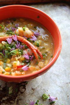 Corn, Sweet Potato and Lobster Chowder | HeatherChristo.com