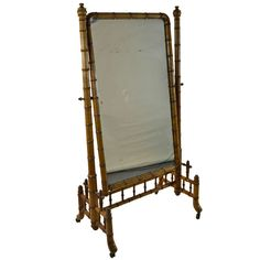 1stdibs | English Faux Bamboo Cheval Mirror