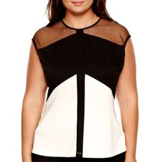 e9a281c16d6 Worthington® Short-Sleeve Colorblock Lace Peplum Blouse - Plus - JCPenney  Plus Size Blouses