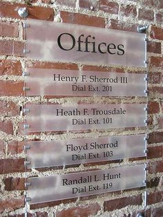 Office Directories - Cable/Rod Suspended Signs
