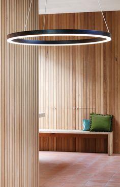 The Beacon Lighting LEDlux Circa Ring 600mm 1600 lumen dimmable LED pendant in black.