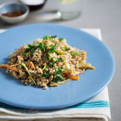 This lovely ingredient is much cheaper than Arborio rice and our lemon barley risotto is light for summer and packed with other veggies and flavour. Barley Risotto, Arborio Rice, Chilli Flakes, Vegetable Stock, Fried Rice, Carrots, Lemon, Healthy Eating, Budget