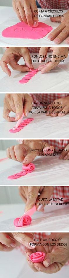 Fondant rose how to.or fimo clay :) Fondant Figures, Cake Decorating Tips, Cookie Decorating, Cake Decorating With Fondant, Clay Crafts, Diy And Crafts, Decoration Patisserie, Fondant Tutorial, Diy Tutorial