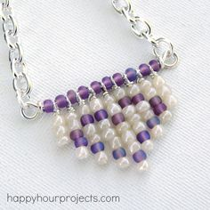 Fringe Heart Seed Bead Necklace - I think I can make a version of this that would really rock.