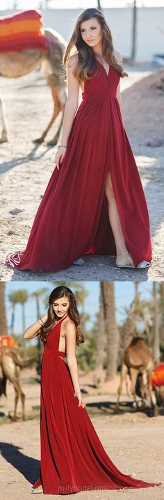 Prom Dresses, Prom Gowns, Red Prom Dresses, Long Prom Dresses, A-line Prom Dresses Halter, Chiffon Prom Dresses Draped, Modest Prom Dresses For Teens #promdresses #reddresses