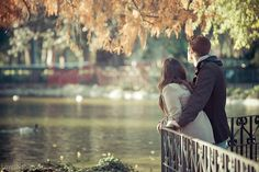 Sweet autumn couple love cute water outdoors nature autumn