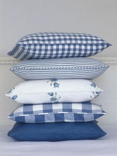 10-30-2016 blue check and gingham pillows, The Little Corner: Photo