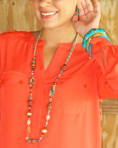Long Brown and Turquoise Metallic Necklace