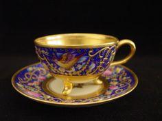 Dresden A Lamm Demitasse Cup Saucer Hand Painted Gold Gilt Flowers Birds