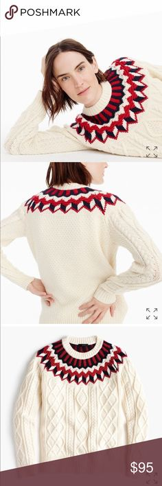 J. Crew cableknit sweater with fair isle, NWT New with tags.   Size: S  The colors look more muted in my full picture photo due to the lighting. See up close photo for the brighter colors like the stock photo. J. Crew Sweaters