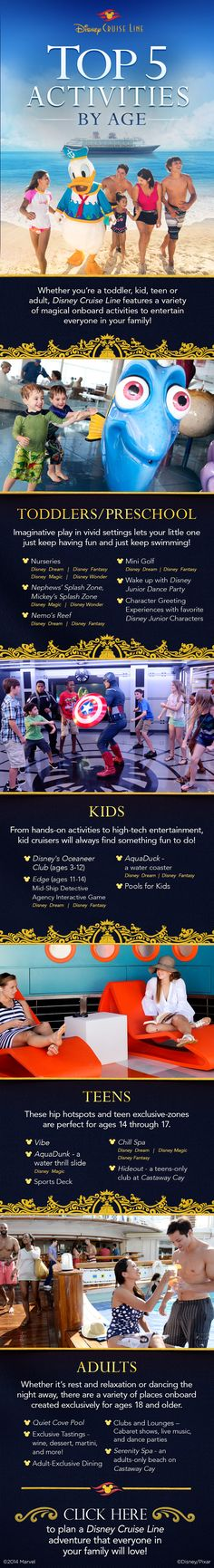 Check out these top 5 activities by age on a Disney Cruise vacation! #disneycruise