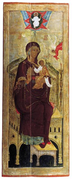 [centered in firmament] Religious Images, Religious Icons, Religious Art, Byzantine Icons, Byzantine Art, Images Of Mary, Russian Icons, Religious Paintings, Christ
