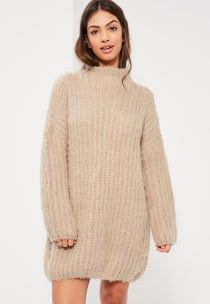 Missguided - Nude Brushed Chunky Stitch Mini Dress