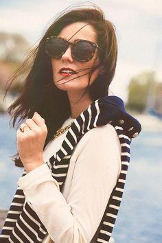 tortoise shell sunglasses, striped sweater, classy girls wear pearls