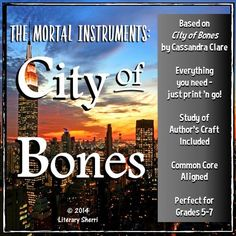 """Hook your students on a super-engaging series with this literature packet for """"The Mortal Instruments: City of Bones"""" by Cassandra Clare. This 5-week packet fosters close reading, critical thinking, and meaningful writing by pushing students to move beyond comprehension and delve deeply into understanding, applying, analyzing, and evaluating. City of Bones is a high-interest, low-readability book that engages teens and keeps them reading! #homeschoolingforteenslessonplans"""