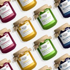 "41 aprecieri, 3 comentarii - Logo & Branding Design (@elenadmtr_) pe Instagram: ""Jam Packing Design . . . #labeldesign #packingdesign #label #packing #jam #jamlabels #jar…"" Jars, Raspberry, Mint, Bottle, Branding Design, Graphic Design, Food, Pots, Flask"