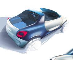 Smart for us concept Car Design Sketch, Car Sketch, Truck Design, Smart Roadster, Automobile, Industrial Design Sketch, Smart Car, City Car, Car Drawings