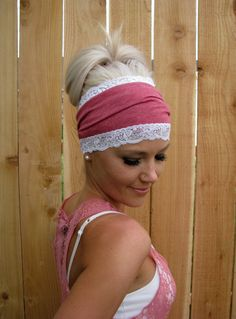 Heather Red Cotton Jersey Knit Headband with Stretch by HillNTrees, $20.00
