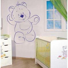 Χαρούμενο Αρκουδάκι για το παιδικό δωμάτιο   Aυτοκόλλητο τοί&chi...