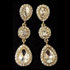 """D31 Clear Austrian Crystal 3 Tier Dangle Earrings ‼️PRICE FIRM‼️    Austrian Crystal Statement Earrings  Retail $54  STUNNING PAIR OF EARRINGS.  Beautiful Austrian crystal set in gold color metal. Hangs approximately 2.1"""".  Please check my closet for many more items including scarves, shoes, designer clothing, handbags & much more. Boutique Jewelry Earrings"""