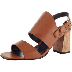 Kin by John Lewis Margit Double Strap Block Heeled Sandals , Brown (€93) ❤ liked on Polyvore featuring shoes, sandals, brown, brown block heel sandals, slingback flat sandals, high heel sandals, leather slingback sandals and block-heel sandals