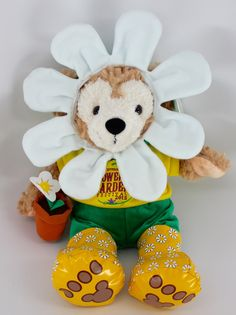 Disney Bear Duffy 2015 Epcot International Flower & Garden Festival 12Inch Plush Mascot Flower Duffy