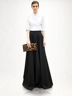 Jill Sander. White classic blouse. Black maxi skirt. Leopard clutch.