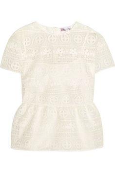 REDValentino - Crocheted Lace Peplum Top - White - IT