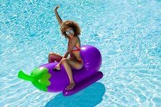 Giant Eggplant Rider Emoji Pool Float