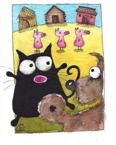 ACEO Original watercolor painting whimsical fat black cat - three little pigs Three Little Pigs, Here Kitty Kitty, Artist Trading Cards, Whimsical Art, Painted Rocks, Folk Art, Watercolor Paintings, Fairy Tales, Art Projects