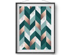 Gray & Copper Print Art Prints Scandinavian Print Printable