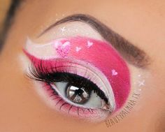 Valentine Eye Makeup. Soft shades of pink and white