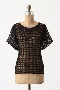 Anthropologie $68 Yellow Bird Breezed Crochet Pullover Black Size XS #Anthropologie #Crochet