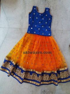 Orange Mirror Lehenga Blue Blouse Baby Lehenga, Kids Lehenga Choli, Kids Lehanga, Sarees, Frocks For Girls, Dresses Kids Girl, Kids Outfits, Baby Dresses, Baby Frocks Party Wear