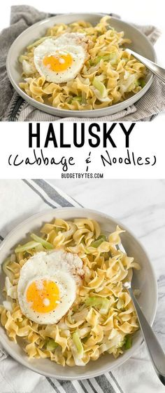 Fried Cabbage and Noodles Recipe - Budget Bytes - Halusky is a simple, filling, and inexpensive dish made with sautéed cabbage, tender egg noodles, - Noodle Recipes, Pasta Recipes, Dinner Recipes, Cooking Recipes, Dinner Ideas, Fall Recipes, Vegetarian Cabbage, Vegetarian Recipes, Healthy Recipes
