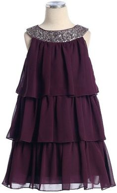 Great girl's three-tiered holiday dress in plum with silver sequined neckline.  Available in sizes 7-16 (special orders available for more sizes )