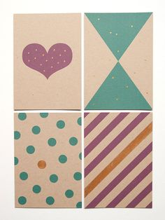 Geometric shapes and gold paint - Postcard Set of 4. $14.00, via Etsy.