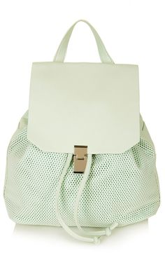 This perforated mint backpack is a summer must-have | Topshop.