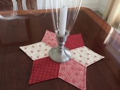 Red & White Moda Quilted Star Candle Mat for Year round use by sea quilt, Great for 4th of July, Christmas & Valentine's Day.