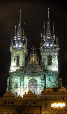 Church of Our Lady before Tyn at Night, Prague, Czech Republic