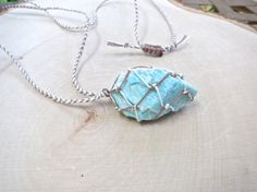 Raw Crystal Necklace -- Rough Amazonite Stone hand wrapped with a Chevron design.
