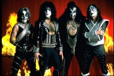 KISS band - KISS band with original members (from left to right) Peter Criss, Paul Stanley, Gene Simmons and Ace Frehley, all wearing trademark make-up and costumes. Description from mylot.com. I searched for this on bing.com/images