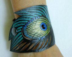 Feather Cuff Bracelet Turquoise Feather by AshleyAnnBennett