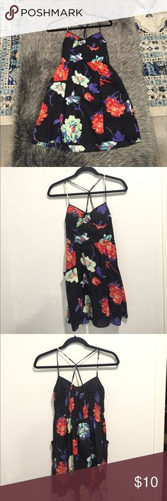 Little Black Strappy Summer Dress Perfect dress for the summer. Perfect condition! American Eagle Outfitters Dresses Backless