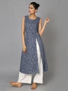 Grey Blue Cotton Asymmetrical Kurta - The Wooden Closet Salwar Designs, Kurti Neck Designs, Kurta Designs Women, Blouse Designs, Salwar Pattern, Kurta Patterns, Dress Patterns, Indian Attire, Indian Wear